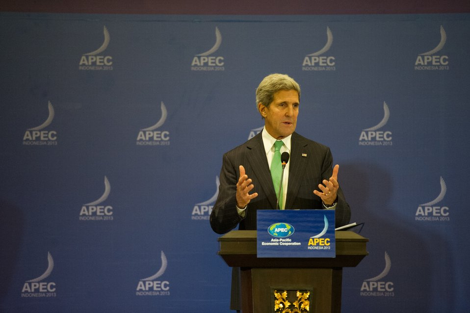 Secretary Kerry Speaks to the Press at the APEC Ministerial in Indonesia