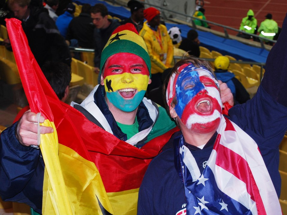 Ghanaian and American Fans Cheer