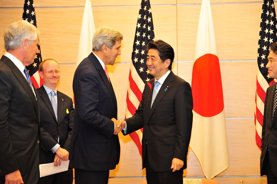 Secretary Kerry Shakes Hands With Japanese Prime Minister Abe