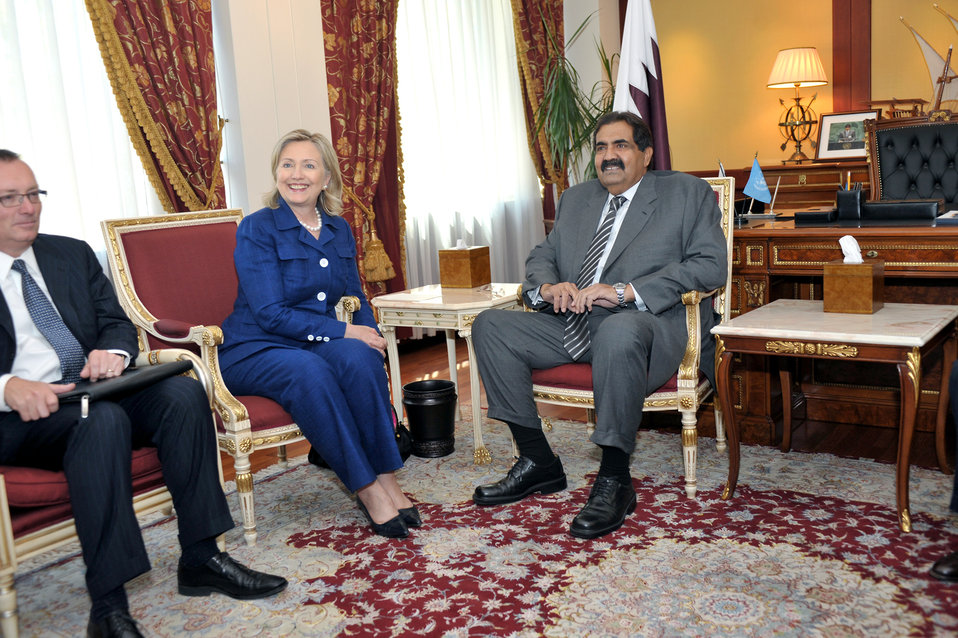 Secretary Clinton Holds a Bilateral With Qatari Emir Hamad al Thani