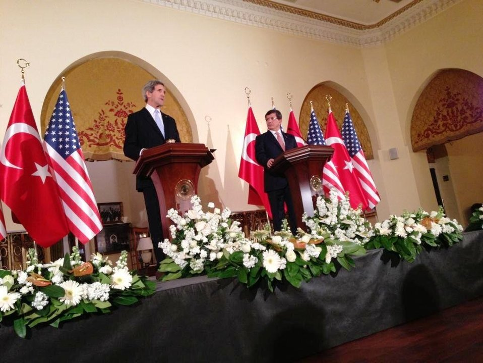 Secretary Kerry and Turkish Foreign Minister Davutoglu Address Reporters
