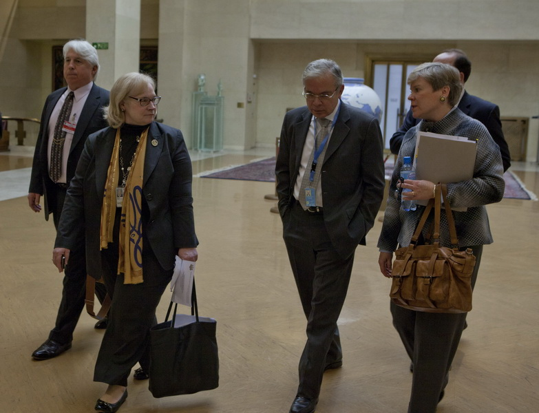 Ambassadors Kennedy, Guerrero and Assistant Secretary Gottemoeller Walk to the First Plenary