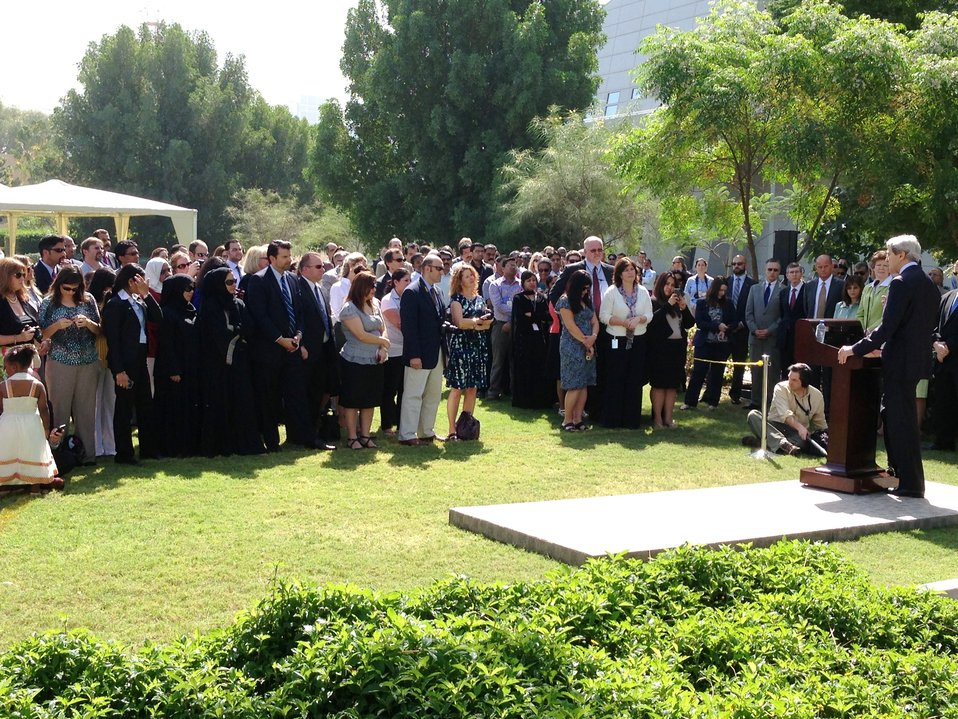 Secretary Kerry Delivers Remarks at Embassy Abu Dhabi's Meet and Greet