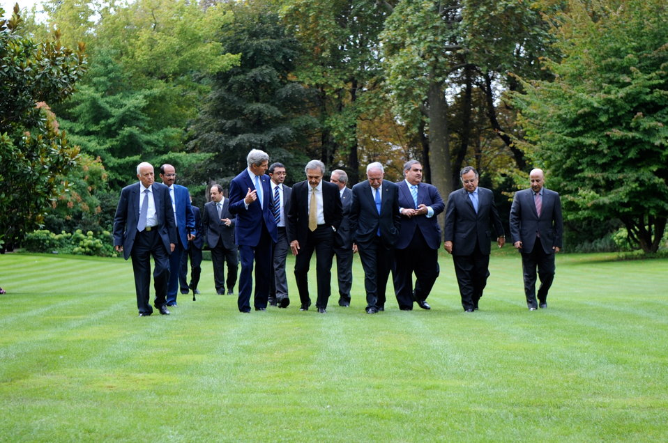 Secretary Kerry Walks With the Ministerial Delegation of the Arab Peace Initiative