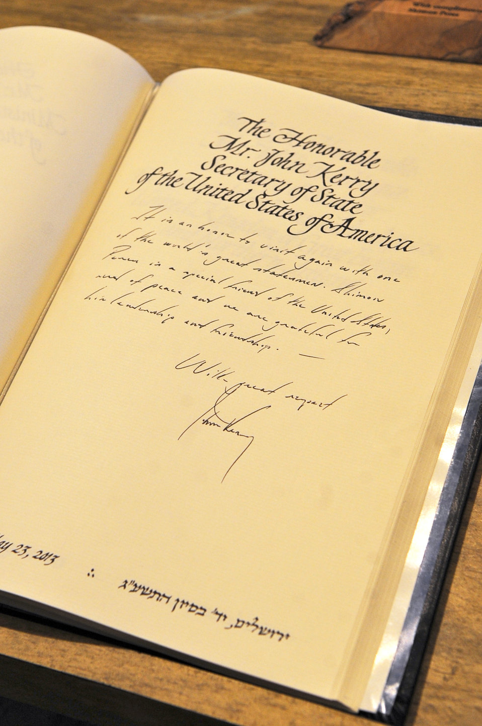 Secretary Kerry's Note in the Guestbook of Israeli President Peres