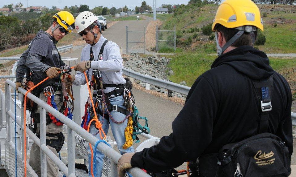 Corps' engineers climb, inspect New Hogan Dam