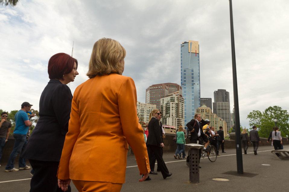 Australian Prime Minister Gillard and Secretary Clinton Walk to Lunch in Melbourne