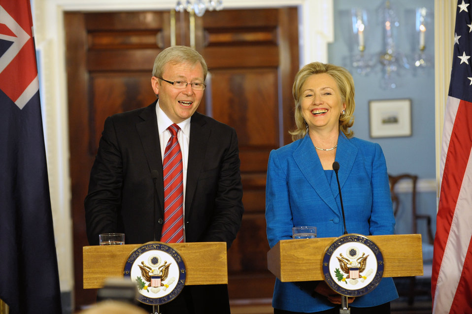 Secretary Clinton Holds a Joint Press Availability With Australian Foreign Minister Rudd