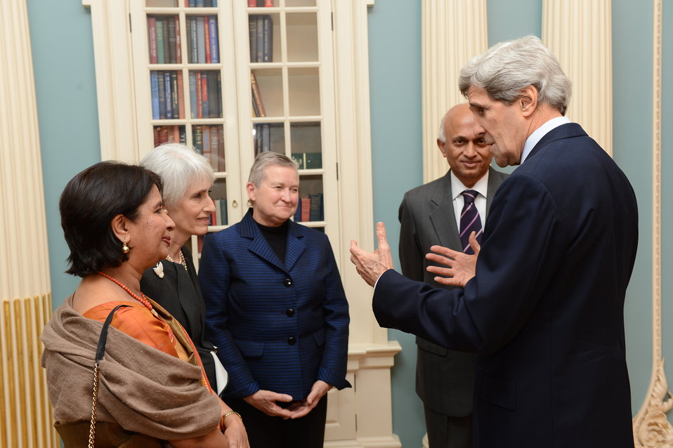 Secretary Kerry Meets With Indian Foreign Secretary Mathai