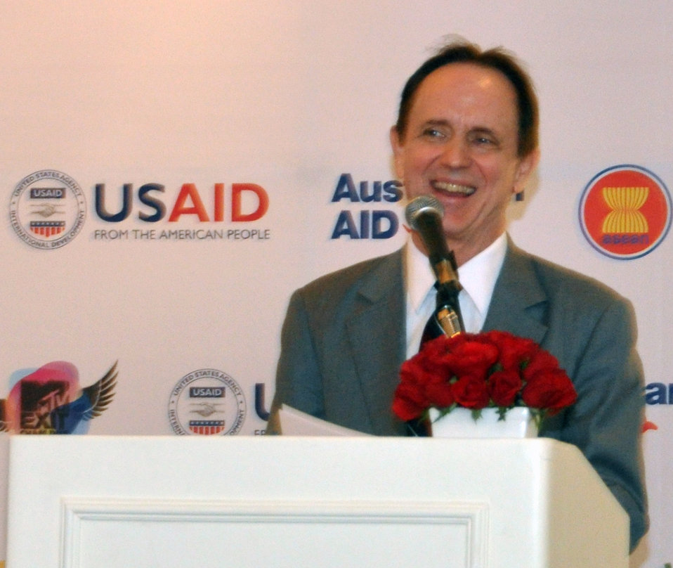 USAID Mission Director Francis Donovan speaks at the MTV EXIT press launch in Hanoi