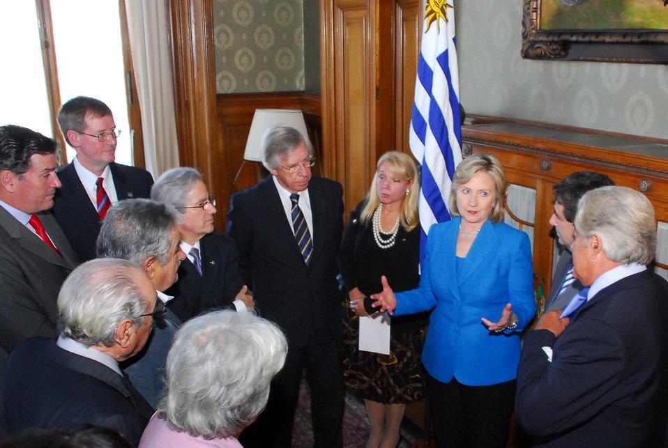 Secretary Clinton Meets With Uruguay President-elect