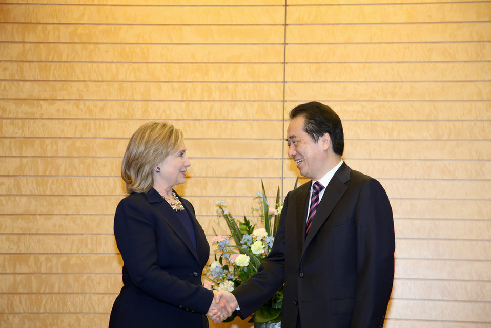 Secretary Clinton Is Greeted By Japanese Prime Minister Kan