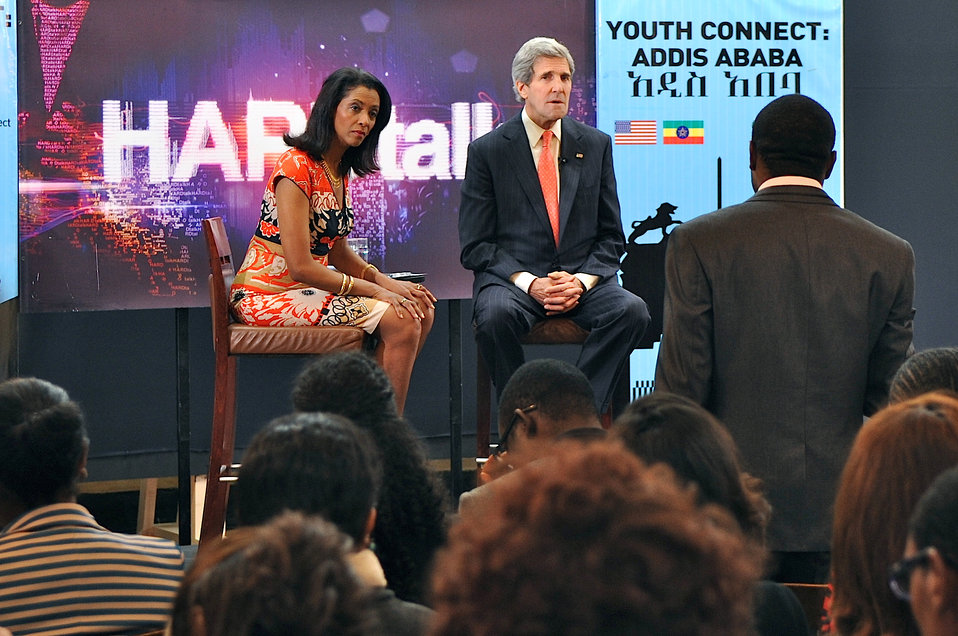 Secretary Kerry Listens to a Question During a Youth Connect Event in Addis Ababa