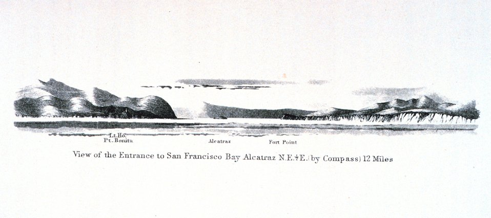 The entrance to San Francisco Bay with Alcatraz Island seen in the center of the  image. In:  Pacific Coast.  Coast Pilot of California, Oregon, and Washington Territory .  By George Davidson, 1869.  P. 67.  Library Call Number VK947.D4 1869.