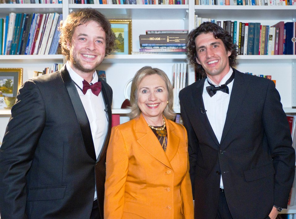 Secretary Clinton Poses for a Photo With Hamish Blake and Andy Lee