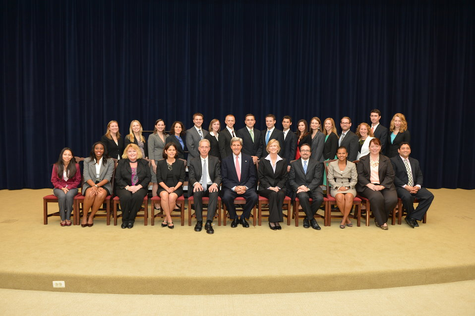 Secretary Kerry Poses for a Photo With the Presidential Management Fellow Orientation Class