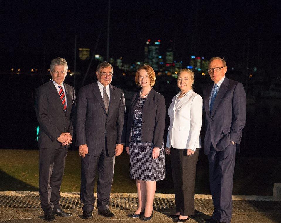 Australian Foreign Minister Smith, Secretary Panetta, Australian Prime Minister Gillard, Secretary Clinton, and Australian Foreign Minister Carr Pose for a Photo