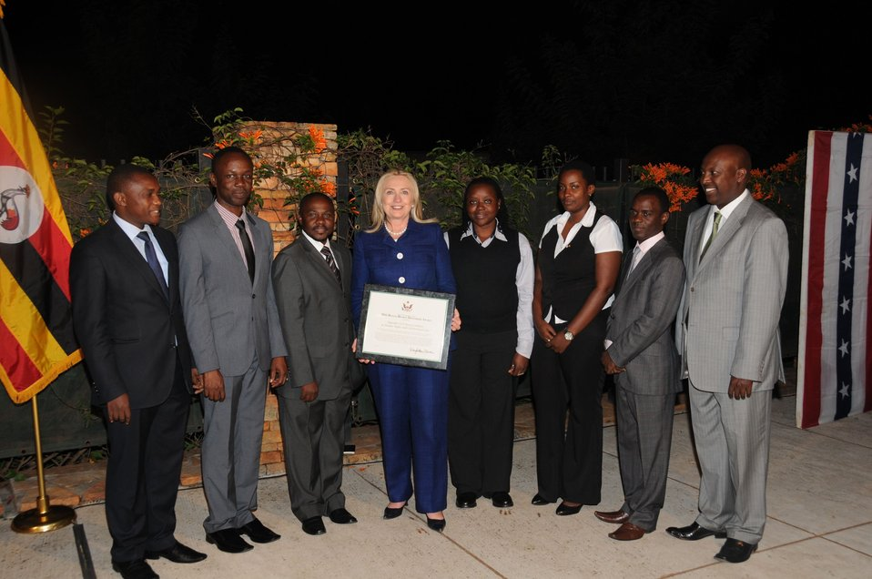 Secretary Clinton Poses With 2011 Human Rights Defender Award Recipients
