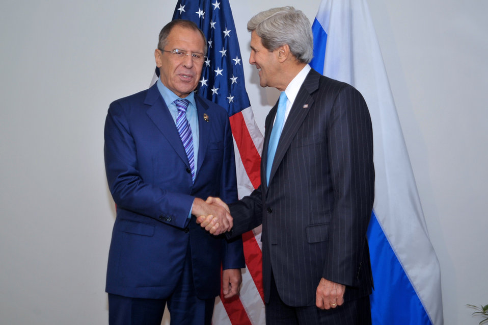 Secretary Kerry Greets Russian Foreign Minister Lavrov