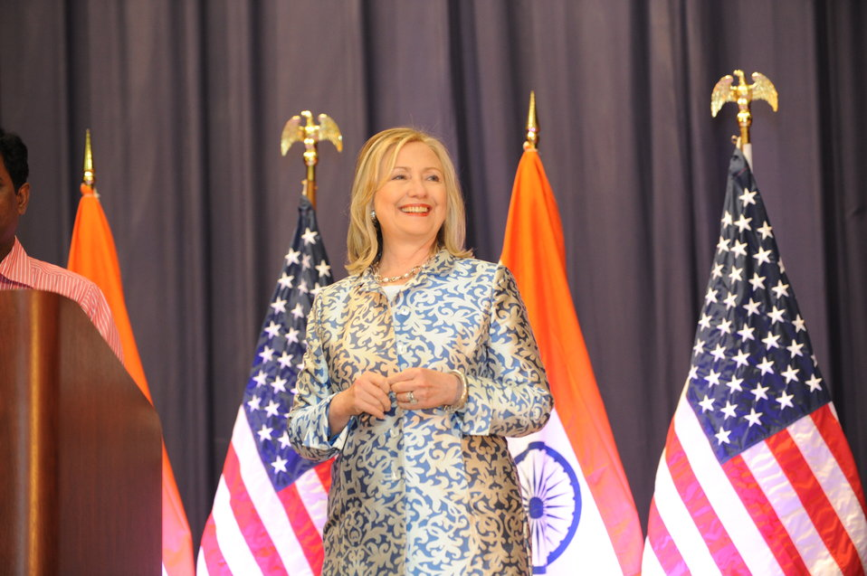 "Secretary Clinton Takes the Stage To Deliver Remarks on ""India and the United States: A Vision for the 21st Century"""