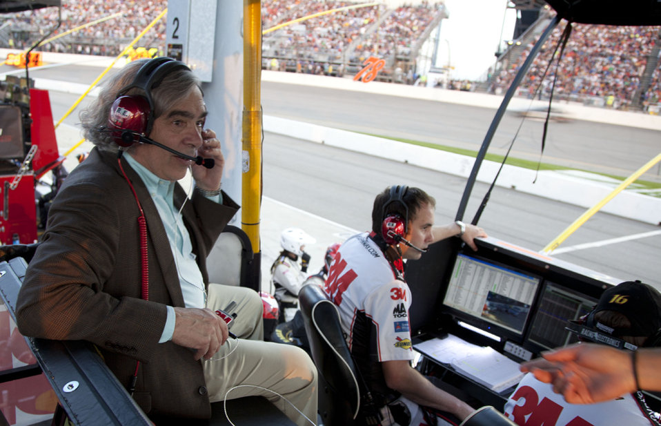 Secretary Moniz visits NASCAR driver No. 16, Greg Biffle's, pit box during the race and listens to the conversation between Biffle and his p