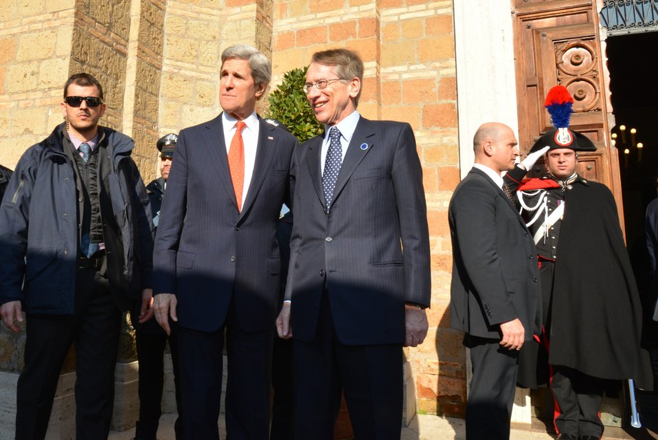Secretary Kerry Is Greeted By Italian Foreign Minister Terzi