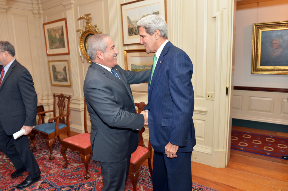 Secretary Kerry Shakes Hands With Jordanian Foreign Minister Judeh