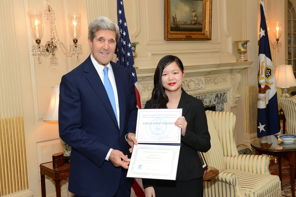 Secretary Kerry Kerry Meets With AFSA Essay Contest Winner, Kailee Pedersen