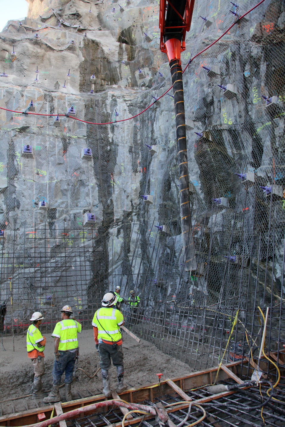 Concrete Placement at the Folsom Dam auxiliary spillway construction