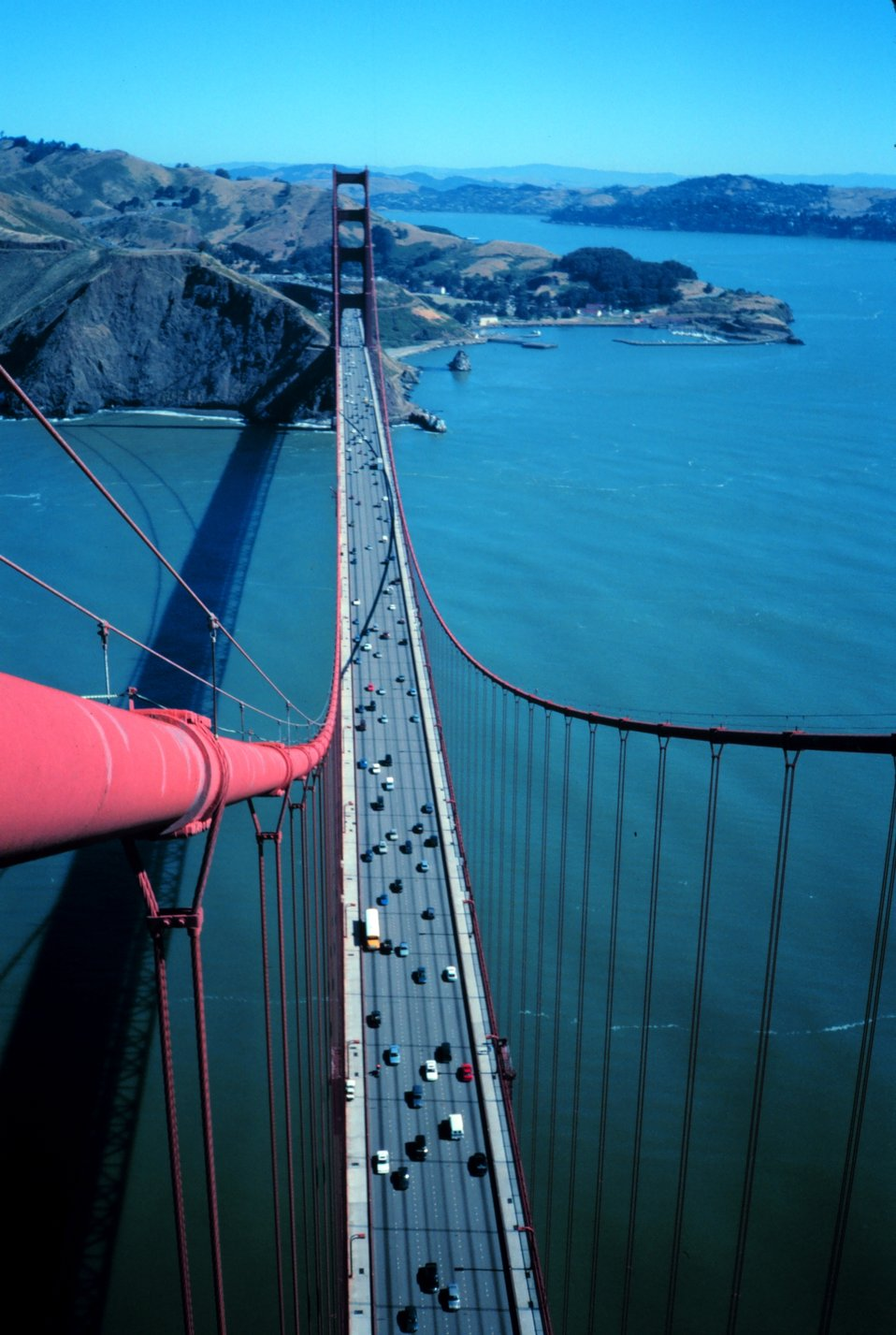 View from the top of the south tower of the Golden Gate Bridge looking north.
