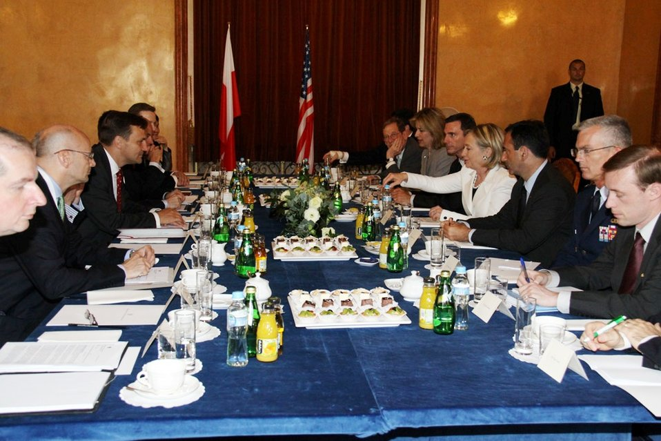 Polish Foreign Minister Radoslaw Holds a Bilateral Meeting With Secretary Clinton