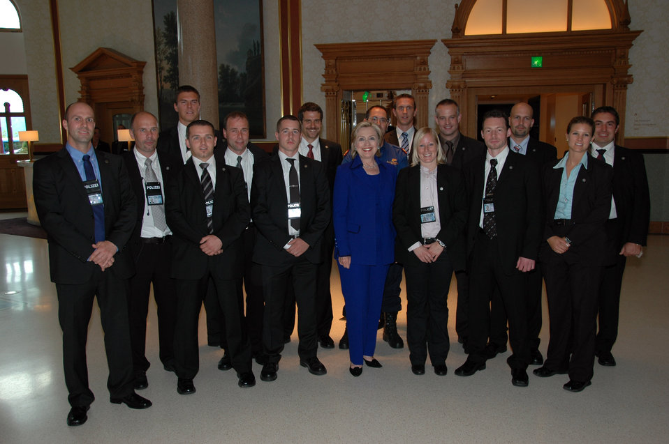 Secretary Clinton With Zurich Police