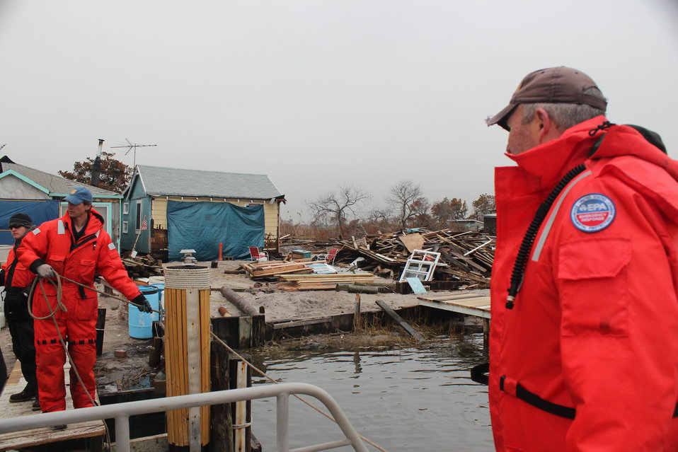 December 8, 2012 OSCs Vanderboom and Nalipinski securing a contractor boat at Whig Inlet, Suffolk County, NY