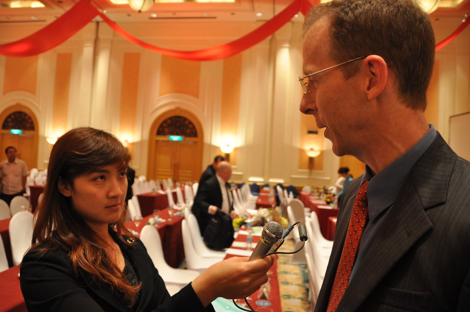 USAID Mission Director Joakim Parker talks to the press at the Provincial Competitiveness Index Launch, March 14, 2013