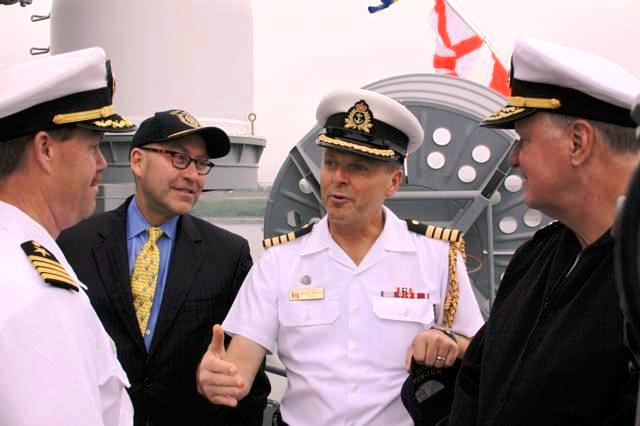 U.S. Naval Attache Jrdon, CNO Admiral Roughead, Canadian Naval Attache Bergeron, and Ambassador Jacobson Speak Aboard the USS Wasp
