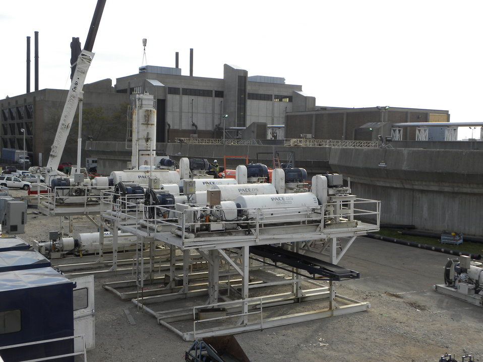 Temporary sludge plant in Newark