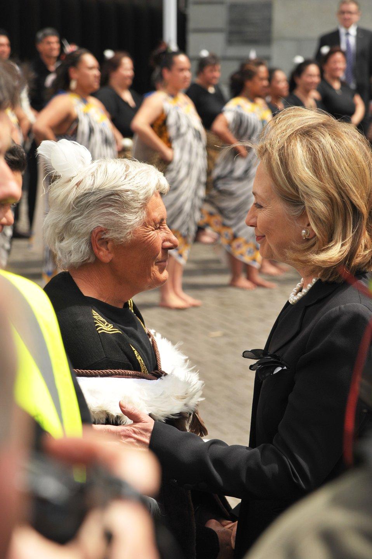 "Secretary Clinton Speaks With a Member of the ""Iwi Kaumatua"""
