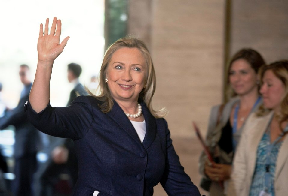 Secretary Clinton Arrives at the UN Offices at Geneva