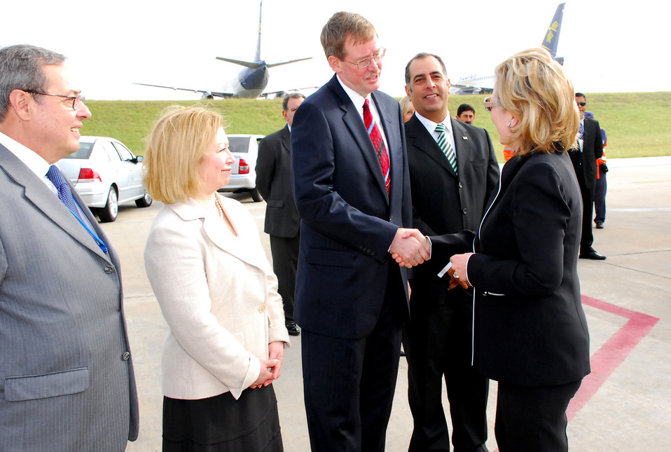 Secretary Clinton Arrives in Montevideo, Uruguay