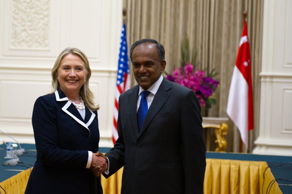 Secretary Clinton Meets With Singaporean Foreign Minister K. Shanmugam