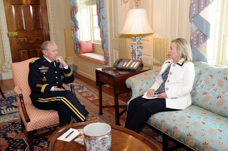 Secretary Clinton Meets With General Dempsey
