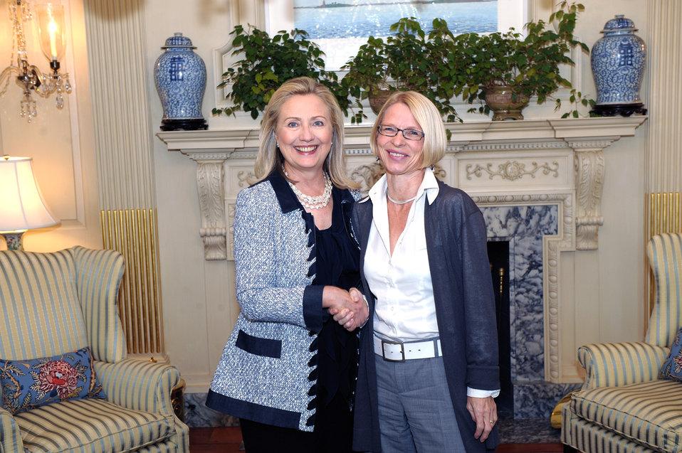 Secretary Clinton Meets With Swiss Ambassador to Iran Livia Leu Agosti