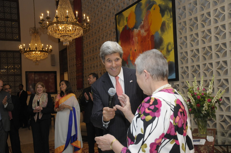 Secretary Kerry Addresses Guests at a Business Leaders Dinner