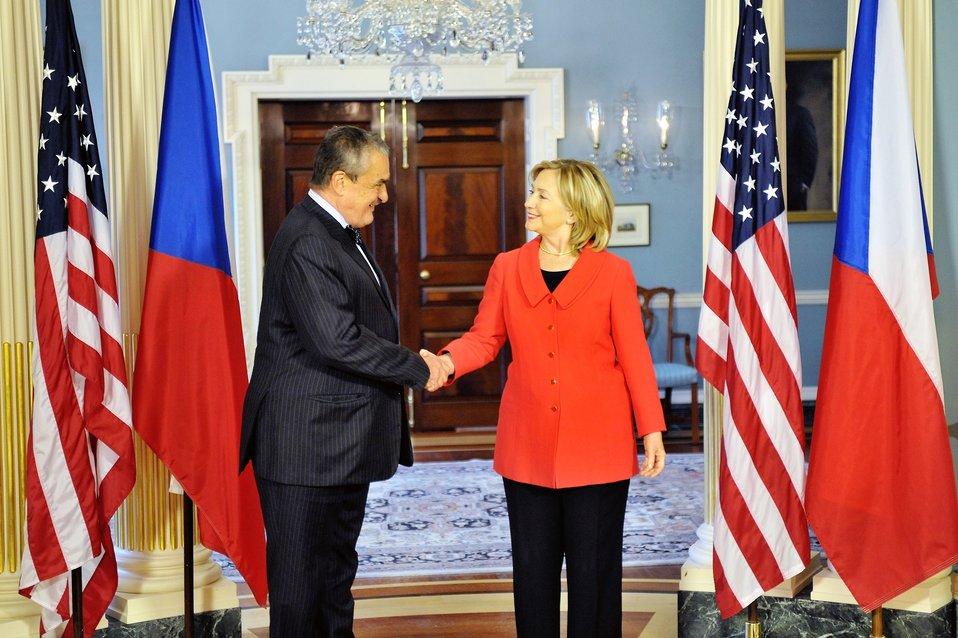 Secretary Clinton Shakes Hands With Czech Foreign Minister Schwarzenberg