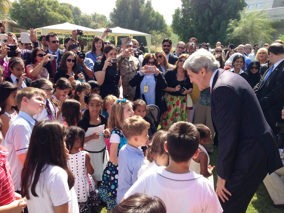 Secretary Kerry Interacts With Children