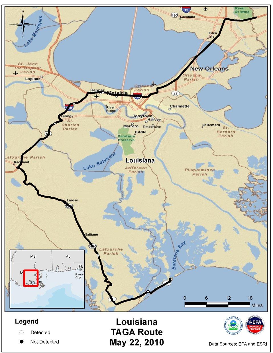 EPA TAGA Air Monitoring Locations May 22, 2010