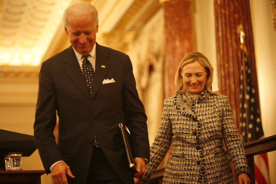 Vice President Biden and Secretary Clinton Depart the Stage