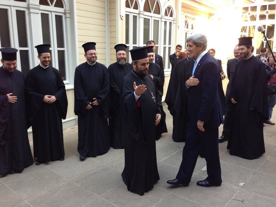 Secretary Kerry Greets Clergy of the Court of the Ecumenical Patriarchate