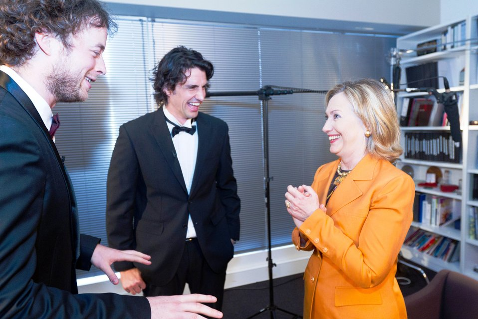Secretary Clinton Jokes With Andy and Hamish