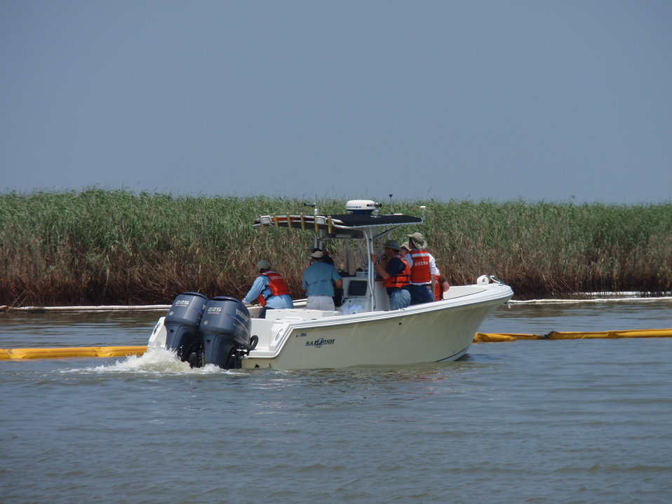 Administrator Jackson gets a first hand look at the efforts to protect the marshes